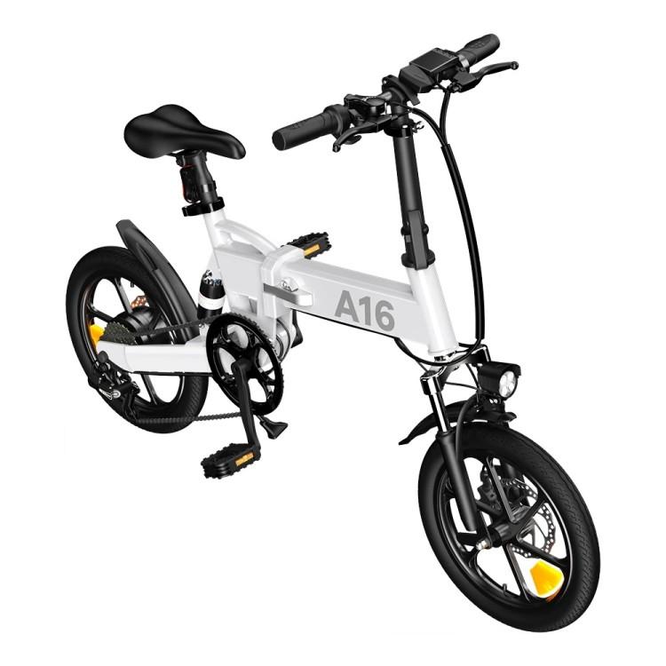 ADO A16 elektrinis dviratis 350W sulankstomas baltas