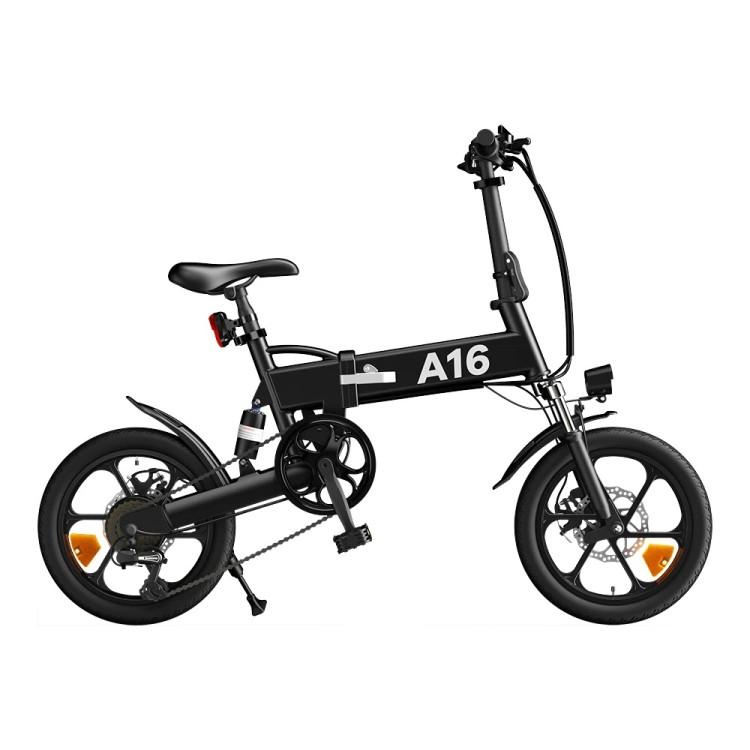 ADO A16 elektrinis dviratis 350W sulankstomas juodas