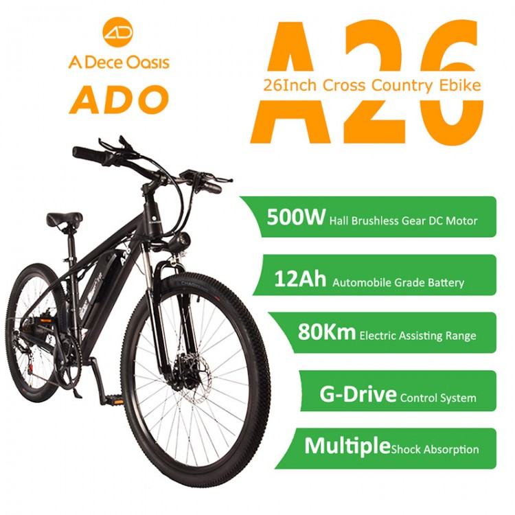 ADO A26 elektrinis dviratis 500W juodas
