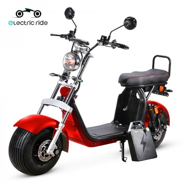 Citycoco elektrinis motoroleris ER-1.2 60Ah 3 baterijos Raudona sp.